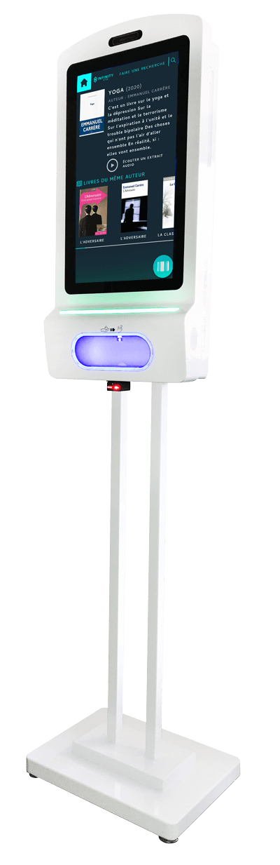 Borne sur pied écran tactile distributeur de gel hydroalcoolique 21,5 pouces - Infinity Scan
